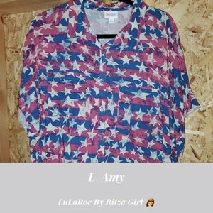 NWT LuLaRoe Amy Button down Top Size Large